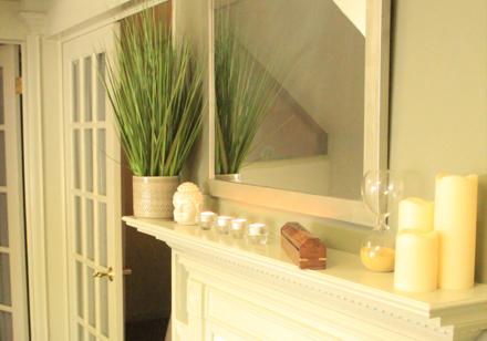 Fireplace incense shelf view